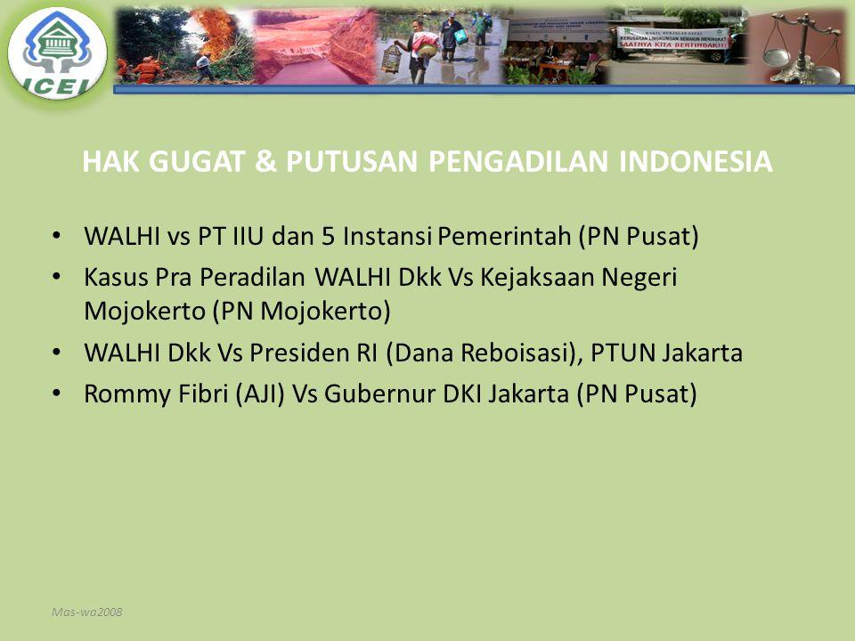 HAK GUGAT & PUTUSAN PENGADILAN INDONESIA WALHI vs PT IIU dan 5 Instansi Pemerintah (PN Pusat) Kasus Pra Peradilan WALHI Dkk Vs Kejaksaan Negeri Mojoke