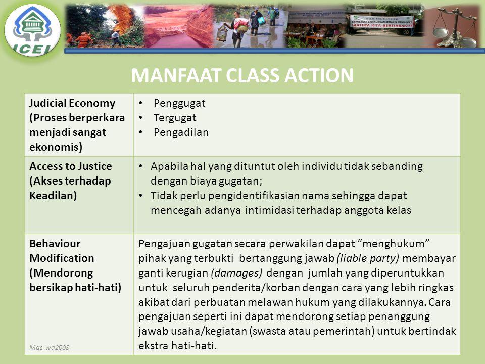 MANFAAT CLASS ACTION Judicial Economy (Proses berperkara menjadi sangat ekonomis) Penggugat Tergugat Pengadilan Access to Justice (Akses terhadap Kead