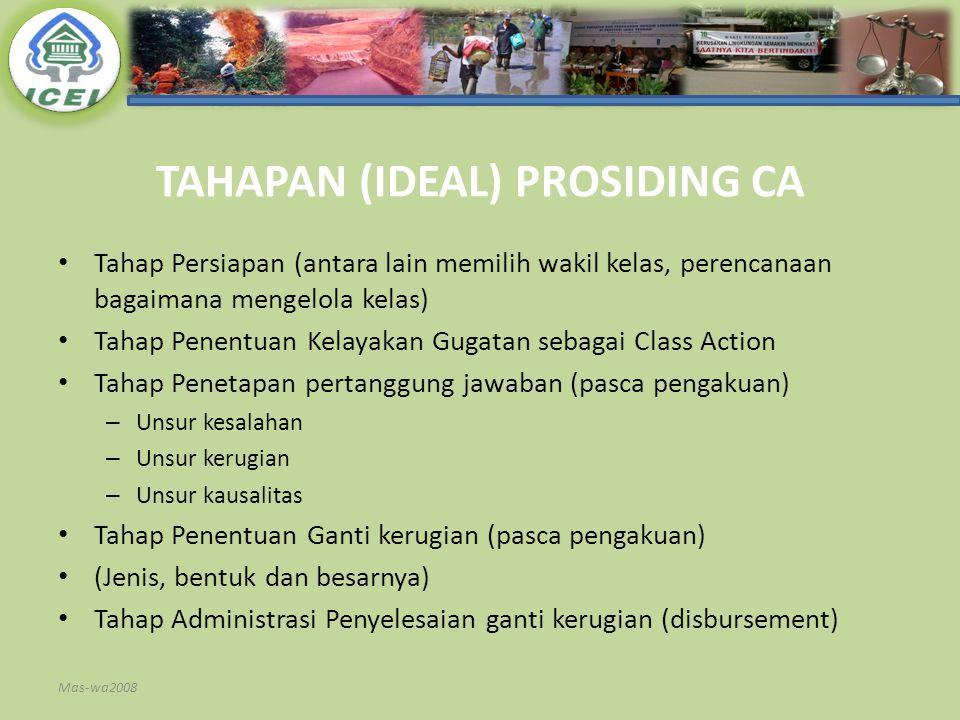 TAHAPAN (IDEAL) PROSIDING CA Tahap Persiapan (antara lain memilih wakil kelas, perencanaan bagaimana mengelola kelas) Tahap Penentuan Kelayakan Gugata
