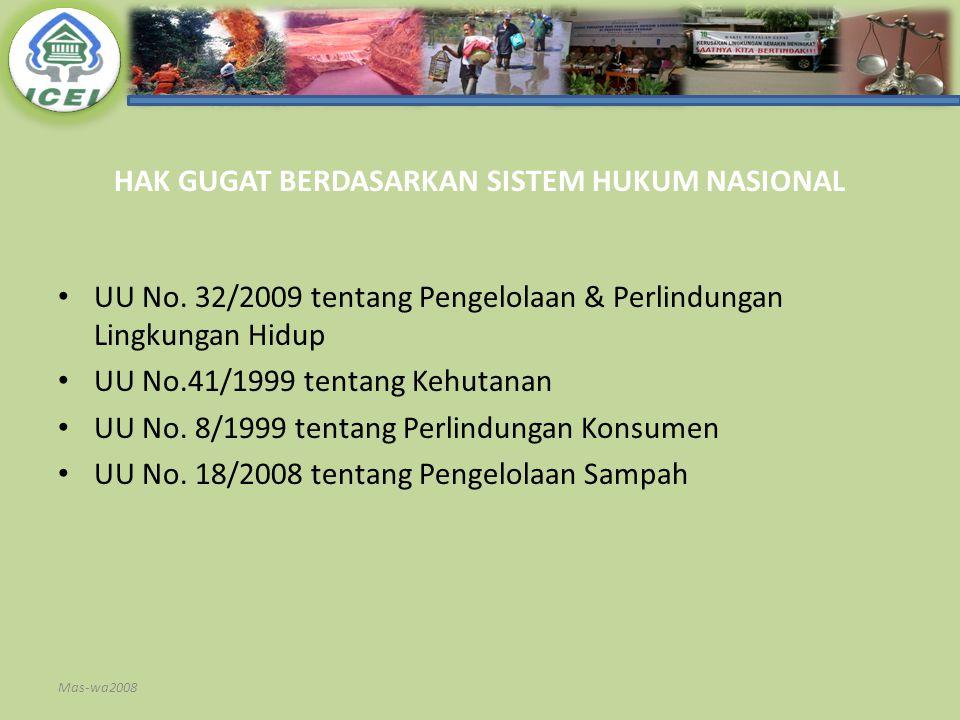 HAK GUGAT BERDASARKAN SISTEM HUKUM NASIONAL UU No. 32/2009 tentang Pengelolaan & Perlindungan Lingkungan Hidup UU No.41/1999 tentang Kehutanan UU No.