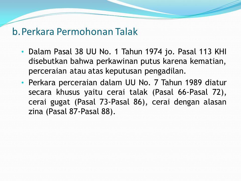 b.Perkara Permohonan Talak Dalam Pasal 38 UU No.1 Tahun 1974 jo.