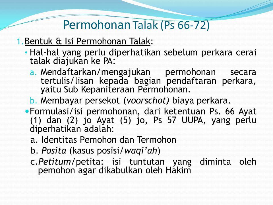 Permohonan Talak (Ps 66-72) 1.