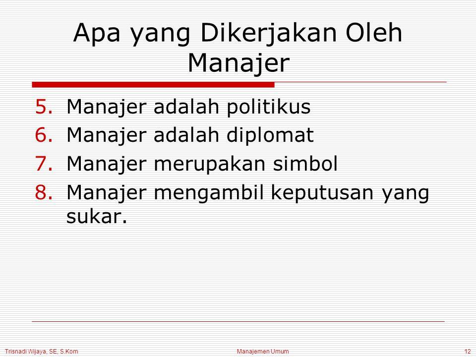 Trisnadi Wijaya, SE, S.Kom Manajemen Umum12 Apa yang Dikerjakan Oleh Manajer 5.Manajer adalah politikus 6.Manajer adalah diplomat 7.Manajer merupakan simbol 8.Manajer mengambil keputusan yang sukar.