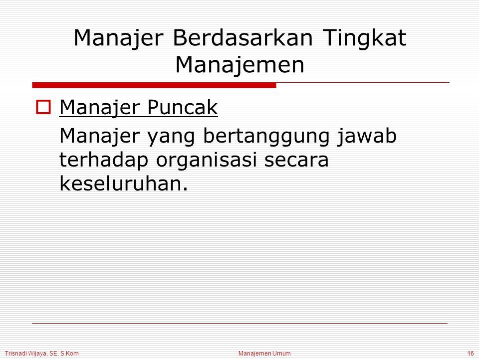 Trisnadi Wijaya, SE, S.Kom Manajemen Umum16 Manajer Berdasarkan Tingkat Manajemen  Manajer Puncak Manajer yang bertanggung jawab terhadap organisasi