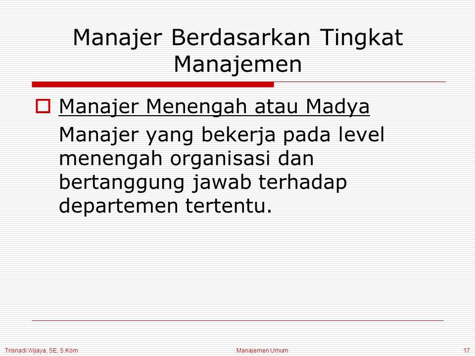 Trisnadi Wijaya, SE, S.Kom Manajemen Umum17 Manajer Berdasarkan Tingkat Manajemen  Manajer Menengah atau Madya Manajer yang bekerja pada level meneng