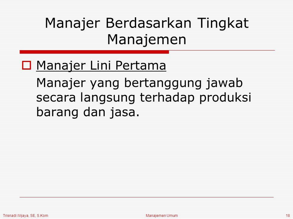 Trisnadi Wijaya, SE, S.Kom Manajemen Umum18 Manajer Berdasarkan Tingkat Manajemen  Manajer Lini Pertama Manajer yang bertanggung jawab secara langsun