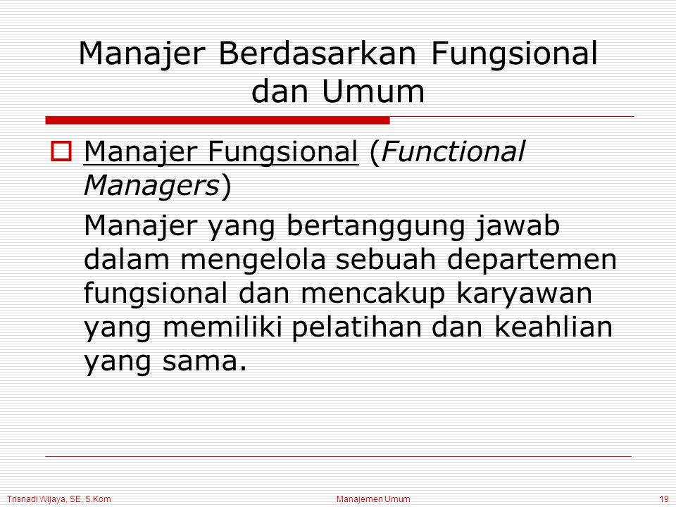 Trisnadi Wijaya, SE, S.Kom Manajemen Umum19 Manajer Berdasarkan Fungsional dan Umum  Manajer Fungsional (Functional Managers) Manajer yang bertanggun