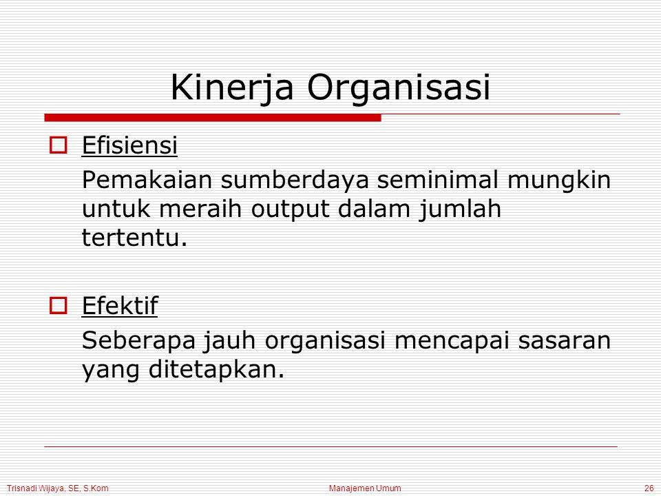 Trisnadi Wijaya, SE, S.Kom Manajemen Umum26 Kinerja Organisasi  Efisiensi Pemakaian sumberdaya seminimal mungkin untuk meraih output dalam jumlah tertentu.