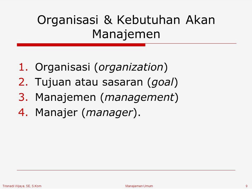 Trisnadi Wijaya, SE, S.Kom Manajemen Umum9 Organisasi & Kebutuhan Akan Manajemen 1.Organisasi (organization) 2.Tujuan atau sasaran (goal) 3.Manajemen