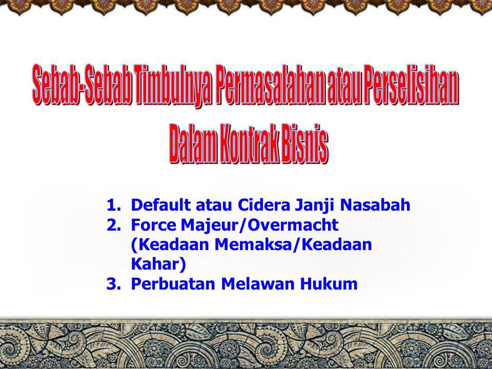 2 1.Default atau Cidera Janji Nasabah 2.Force Majeur/Overmacht (Keadaan Memaksa/Keadaan Kahar) 3.Perbuatan Melawan Hukum