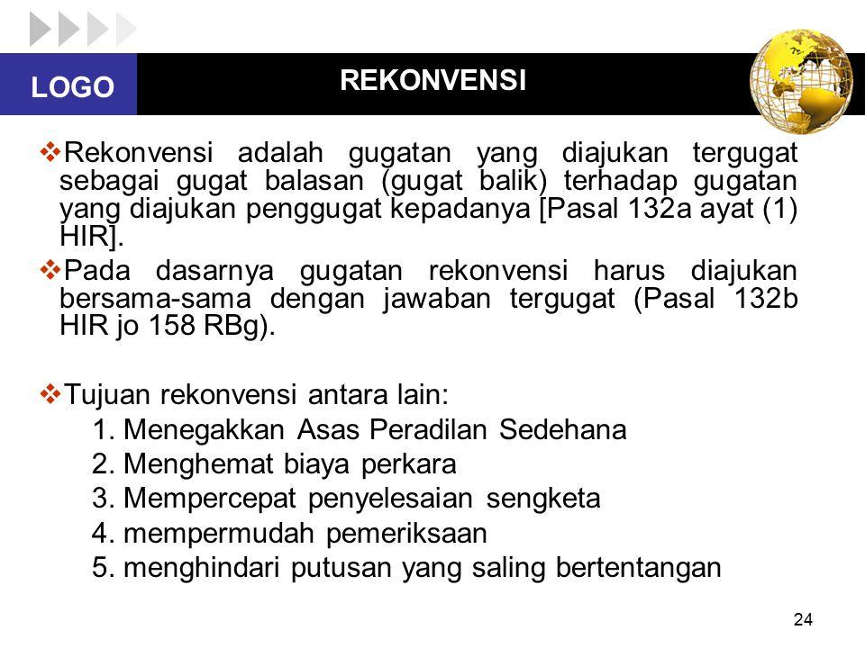 LOGO 24 REKONVENSI  Rekonvensi adalah gugatan yang diajukan tergugat sebagai gugat balasan (gugat balik) terhadap gugatan yang diajukan penggugat kep