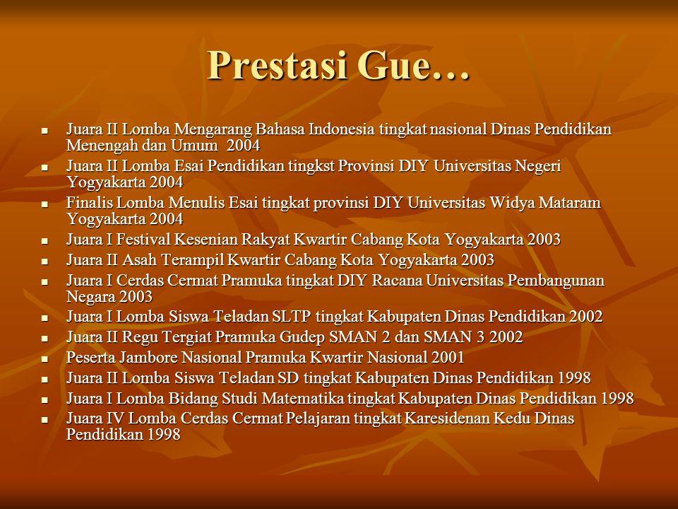 Prestasi Gue… Juara II Lomba Mengarang Bahasa Indonesia tingkat nasional Dinas Pendidikan Menengah dan Umum 2004 Juara II Lomba Mengarang Bahasa Indon