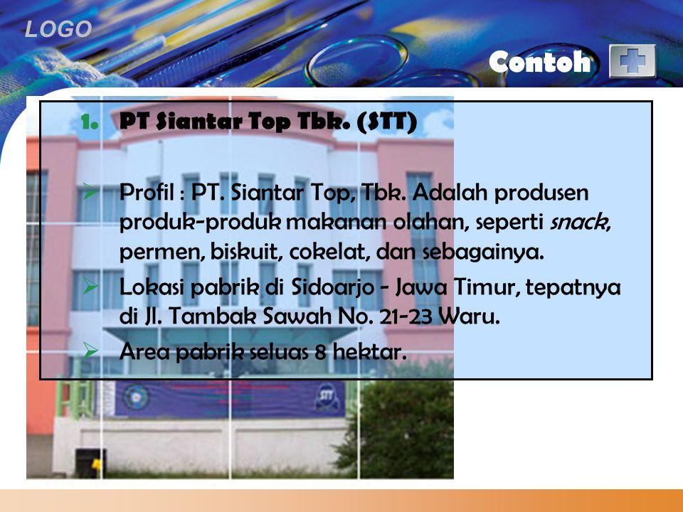 LOGO Contoh 1.PT Siantar Top Tbk. (STT)  Profil : PT. Siantar Top, Tbk. Adalah produsen produk-produk makanan olahan, seperti snack, permen, biskuit,