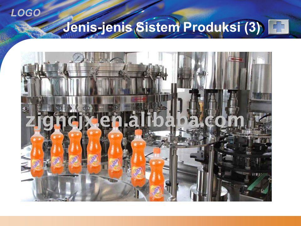 LOGO Jenis-jenis Sistem Produksi (3)  Batch  memproduksi banyak variasi produk dan volume, lama proses produksi untuk tiap produk agak pendek, dan s