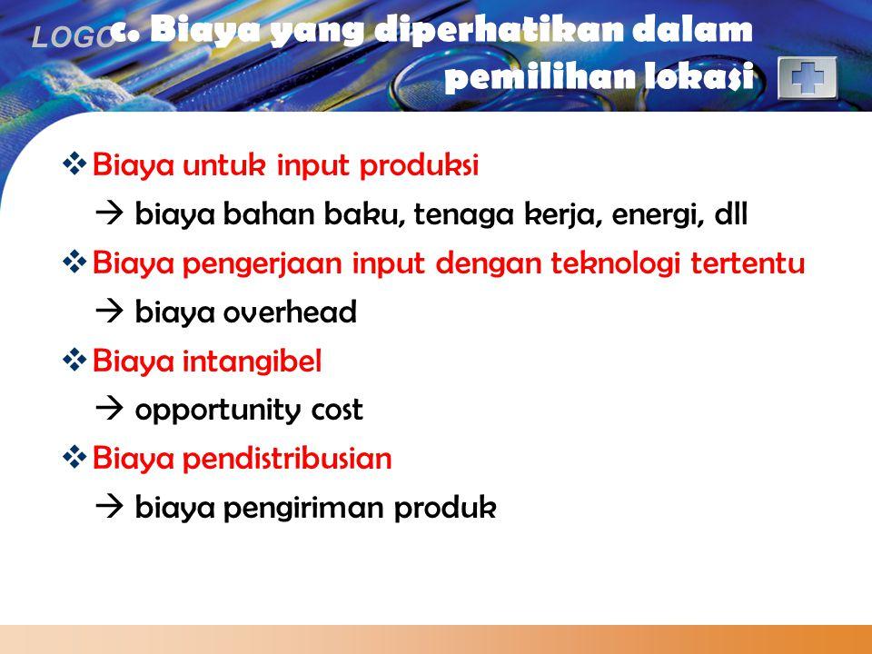 LOGO c. Biaya yang diperhatikan dalam pemilihan lokasi  Biaya untuk input produksi  biaya bahan baku, tenaga kerja, energi, dll  Biaya pengerjaan i
