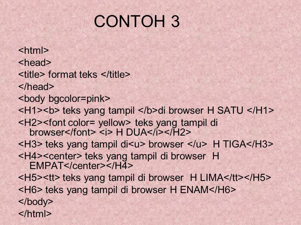 CONTOH 3 format teks teks yang tampil di browser H SATU teks yang tampil di browser H DUA teks yang tampil di browser H TIGA teks yang tampil di brows