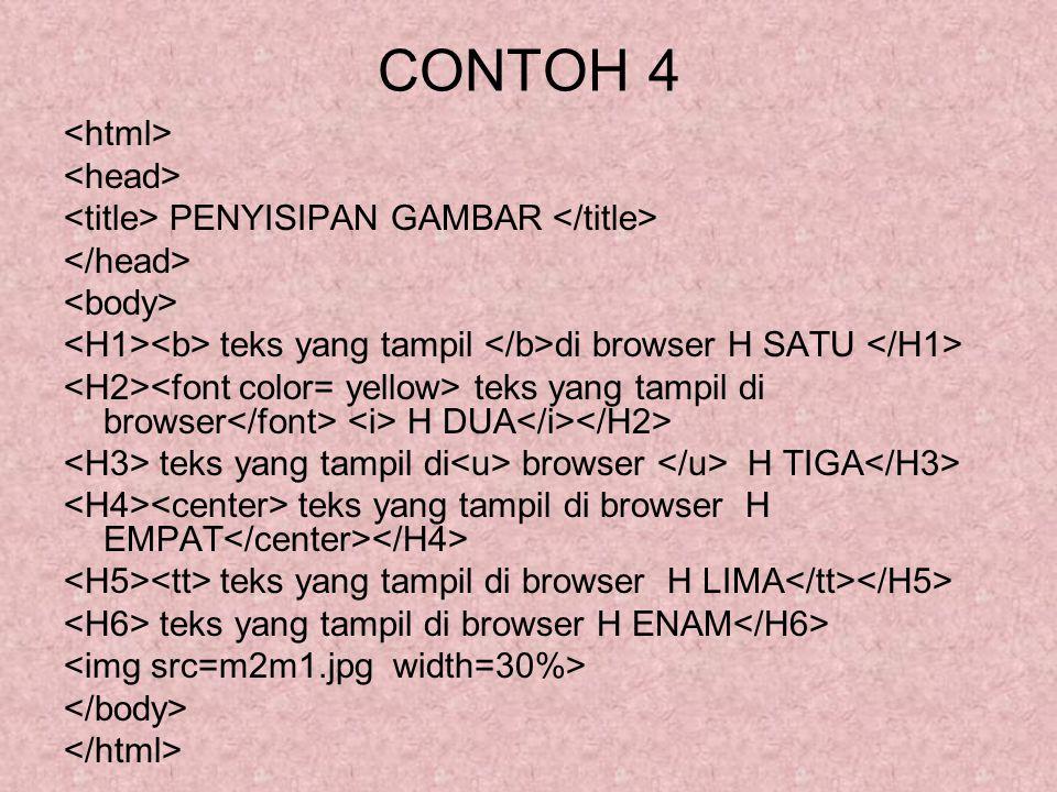 CONTOH 4 PENYISIPAN GAMBAR teks yang tampil di browser H SATU teks yang tampil di browser H DUA teks yang tampil di browser H TIGA teks yang tampil di