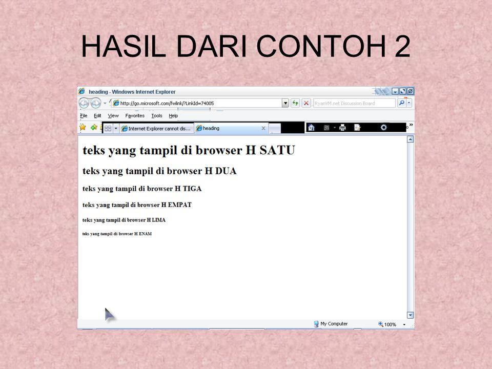 HASIL DARI CONTOH 2