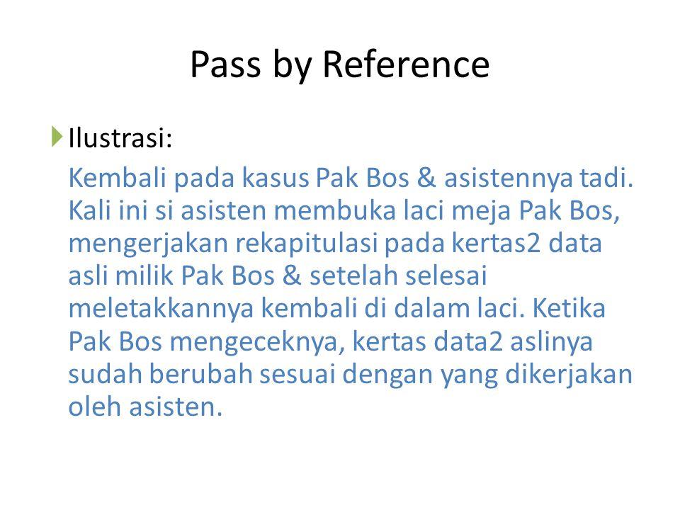 Pass by Reference  Ilustrasi: Kembali pada kasus Pak Bos & asistennya tadi. Kali ini si asisten membuka laci meja Pak Bos, mengerjakan rekapitulasi p