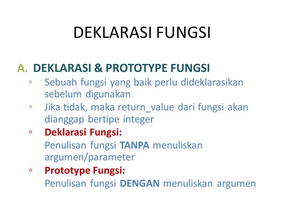 DEKLARASI FUNGSI A.DEKLARASI & PROTOTYPE FUNGSI ◦ Sebuah fungsi yang baik perlu dideklarasikan sebelum digunakan ◦ Jika tidak, maka return_value dari