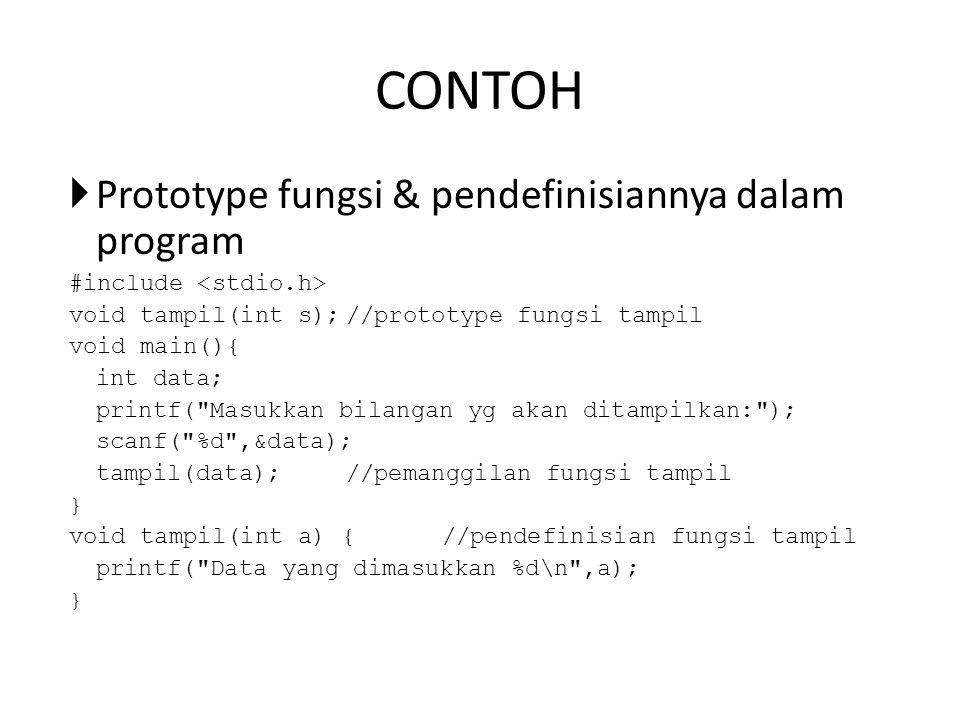 CONTOH  Prototype fungsi & pendefinisiannya dalam program #include void tampil(int s);//prototype fungsi tampil void main(){ int data; printf( Masukkan bilangan yg akan ditampilkan: ); scanf( %d ,&data); tampil(data);//pemanggilan fungsi tampil } void tampil(int a) {//pendefinisian fungsi tampil printf( Data yang dimasukkan %d\n ,a); }