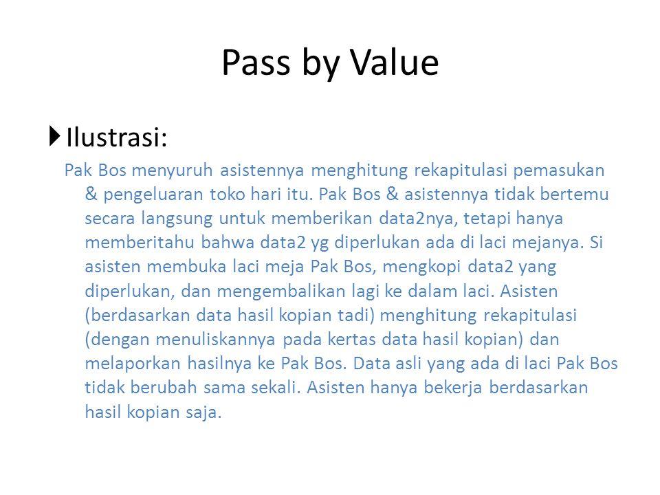 Pass by Value  Ilustrasi: Pak Bos menyuruh asistennya menghitung rekapitulasi pemasukan & pengeluaran toko hari itu. Pak Bos & asistennya tidak berte