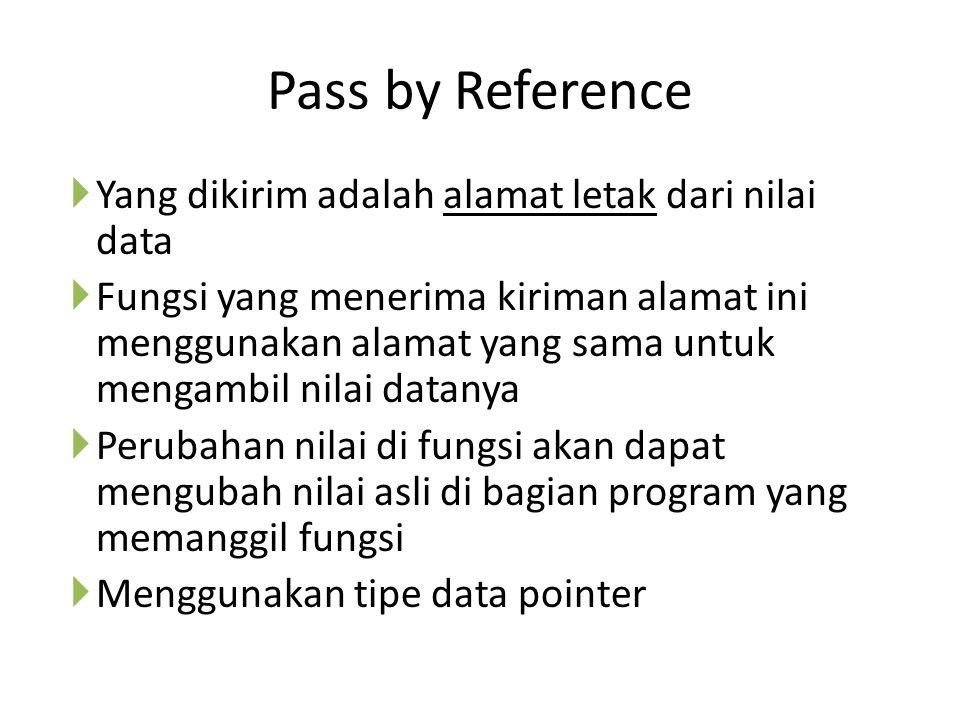 Pass by Reference  Yang dikirim adalah alamat letak dari nilai data  Fungsi yang menerima kiriman alamat ini menggunakan alamat yang sama untuk mengambil nilai datanya  Perubahan nilai di fungsi akan dapat mengubah nilai asli di bagian program yang memanggil fungsi  Menggunakan tipe data pointer