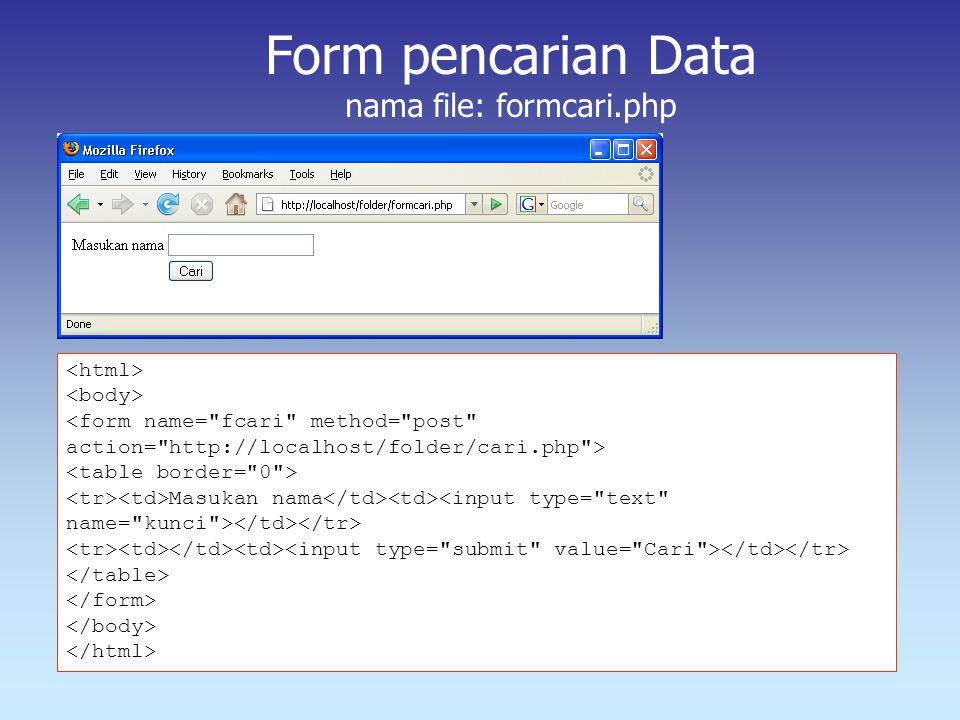 Masukan nama Form pencarian Data nama file: formcari.php