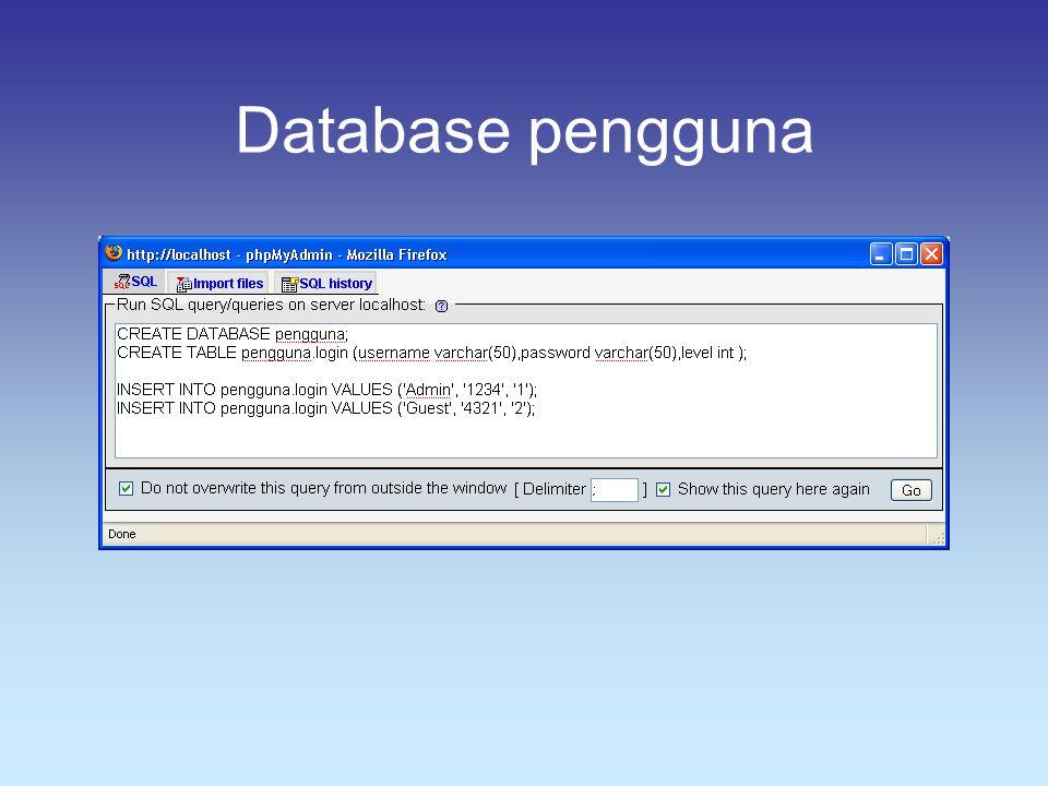 Database pengguna