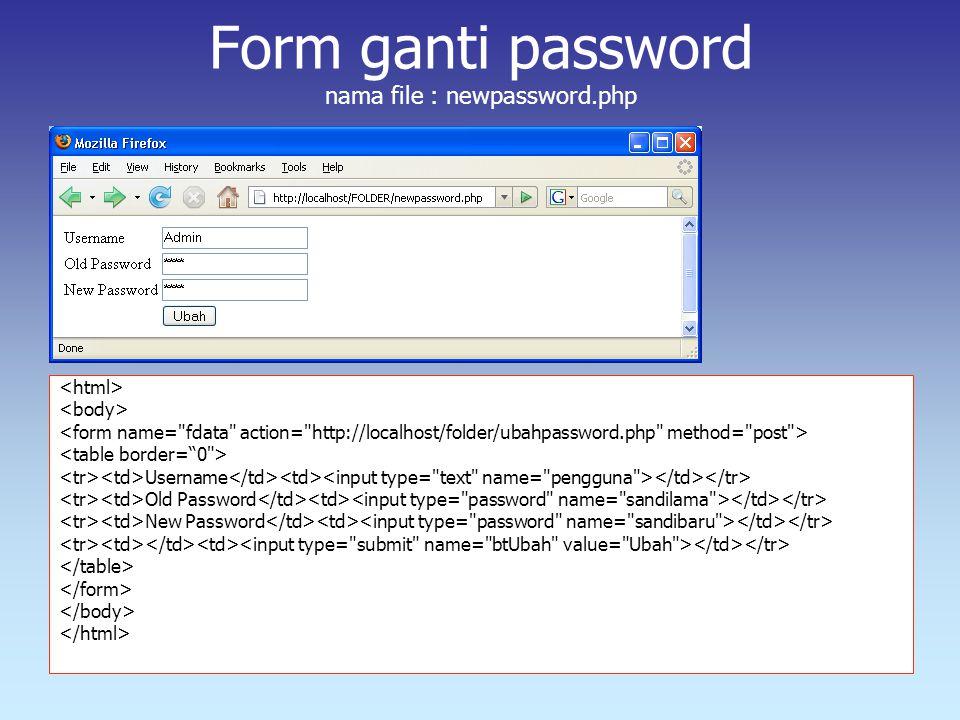 Form ganti password nama file : newpassword.php Username Old Password New Password