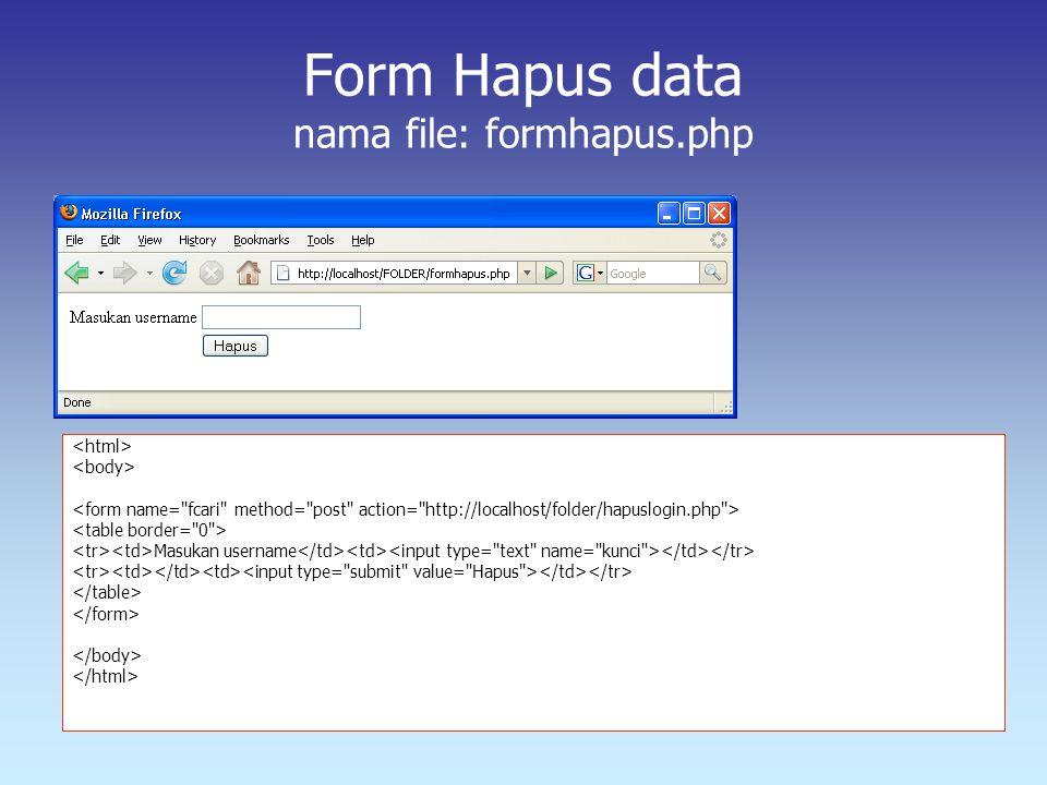 Form Hapus data nama file: formhapus.php Masukan username