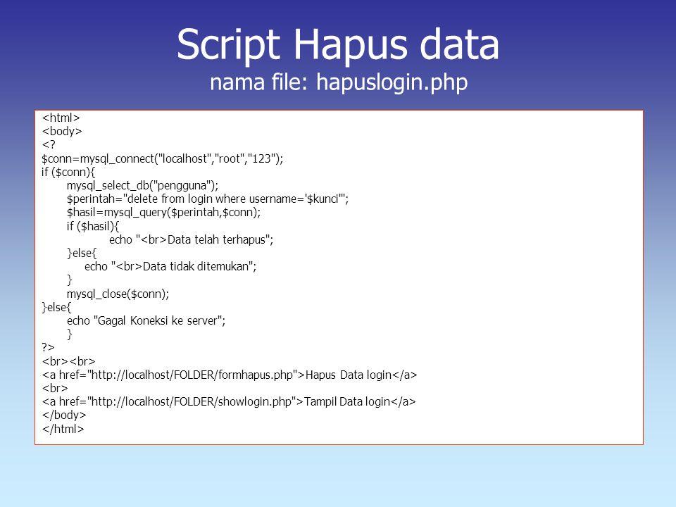 Script Hapus data nama file: hapuslogin.php <? $conn=mysql_connect(