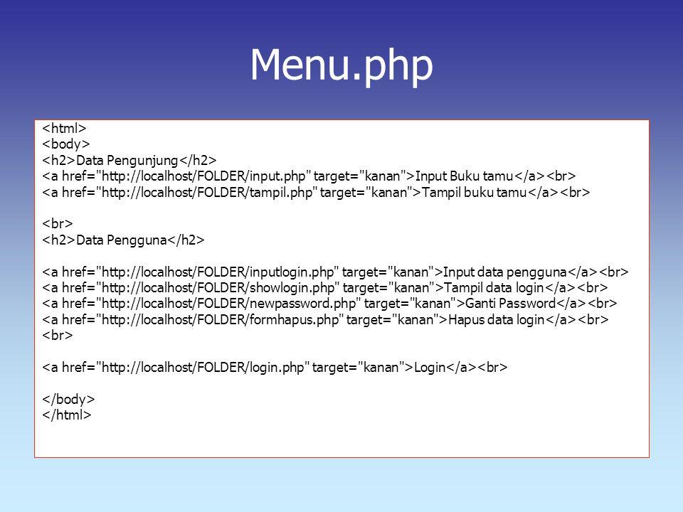 Menu.php Data Pengunjung Input Buku tamu Tampil buku tamu Data Pengguna Input data pengguna Tampil data login Ganti Password Hapus data login Login