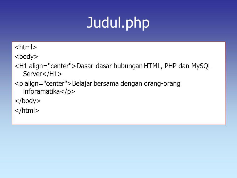 Judul.php Dasar-dasar hubungan HTML, PHP dan MySQL Server Belajar bersama dengan orang-orang inforamatika