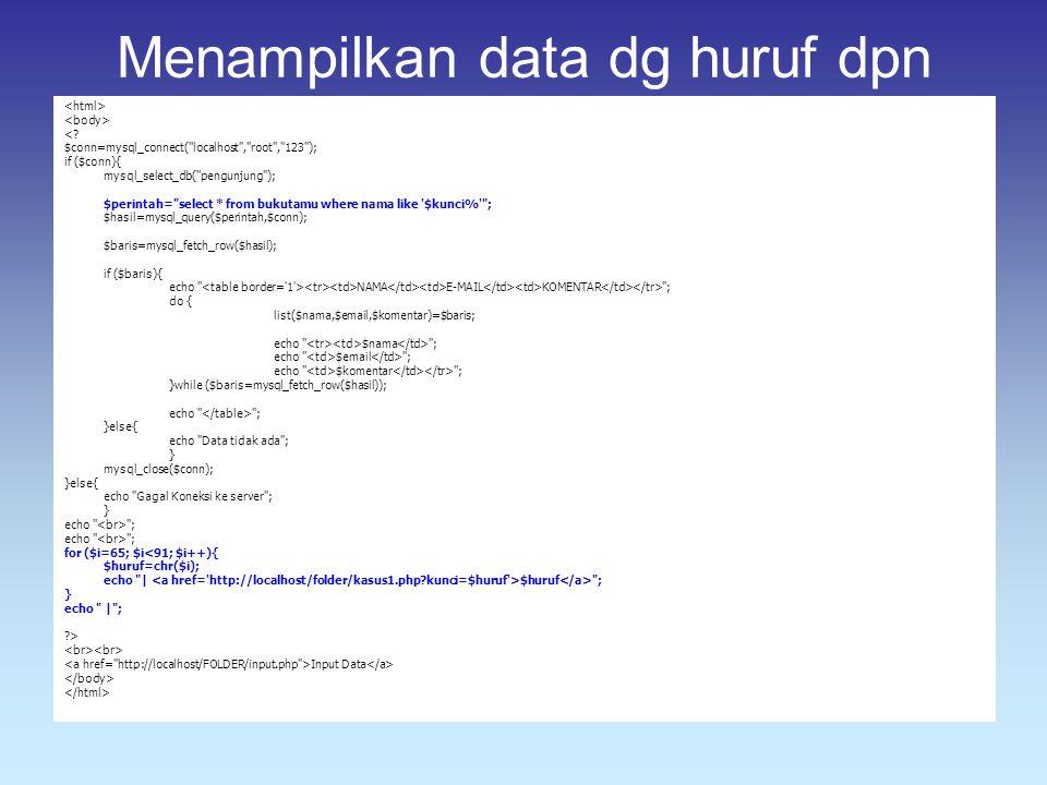 Menampilkan data dg huruf dpn <? $conn=mysql_connect(