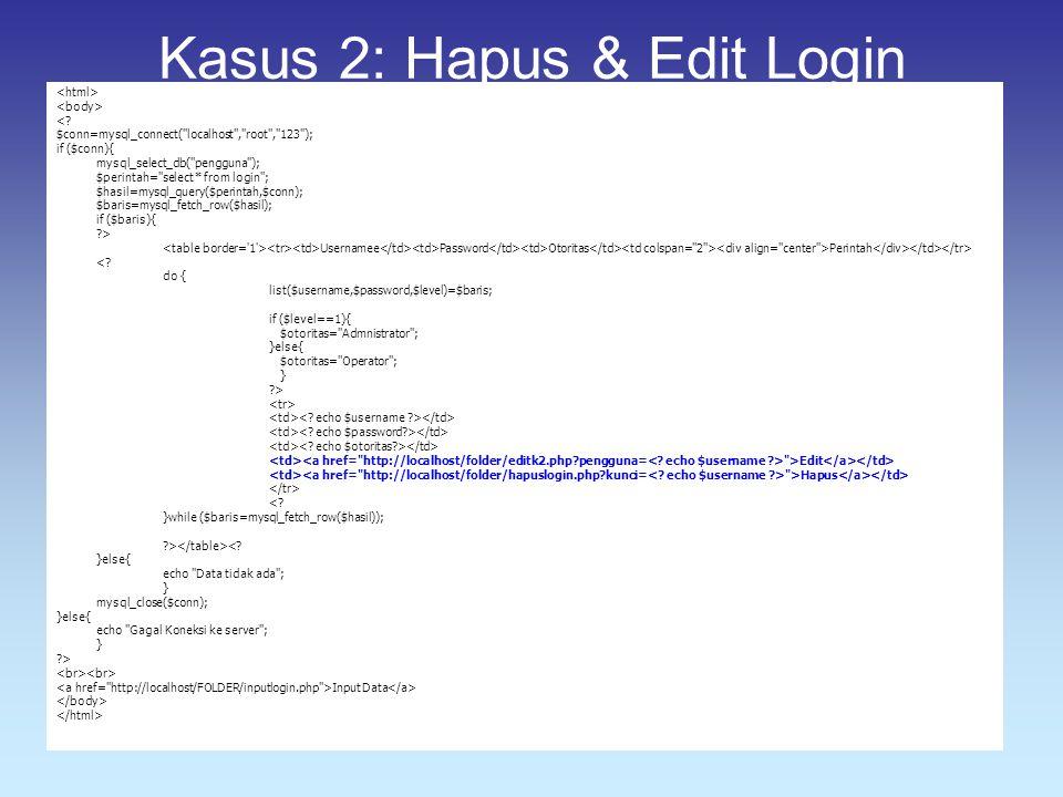 Kasus 2: Hapus & Edit Login <? $conn=mysql_connect(