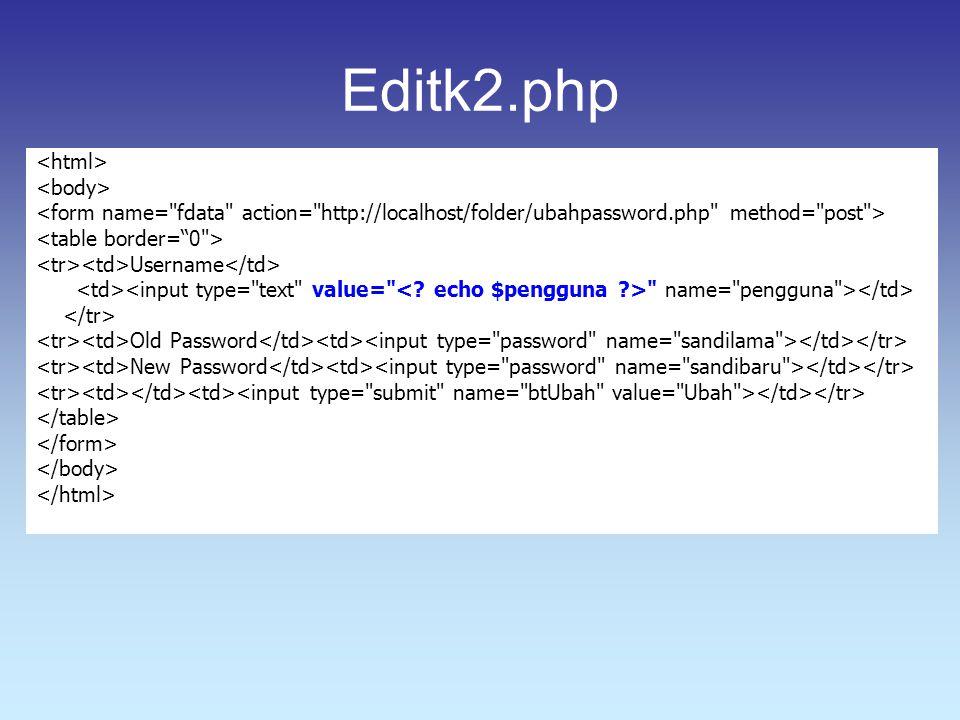 Editk2.php Username name= pengguna > Old Password New Password