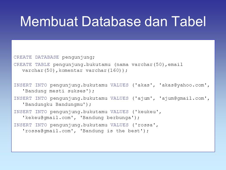 Membuat Database dan Tabel CREATE DATABASE pengunjung; CREATE TABLE pengunjung.bukutamu (nama varchar(50),email varchar(50),komentar varchar(160)); INSERT INTO pengunjung.bukutamu VALUES ( akas , akas@yahoo.com , Bandung mesti sukses ); INSERT INTO pengunjung.bukutamu VALUES ( ajum , ajum@gmail.com , Bandungku Bandungmu ); INSERT INTO pengunjung.bukutamu VALUES ( keukeu , kekeu@gmail.com , Bandung berbunga ); INSERT INTO pengunjung.bukutamu VALUES ( rossa , rossa@gmail.com , Bandung is the best );