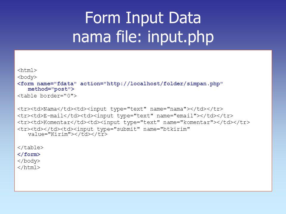 Form Input Data nama file: input.php Nama E-mail Komentar