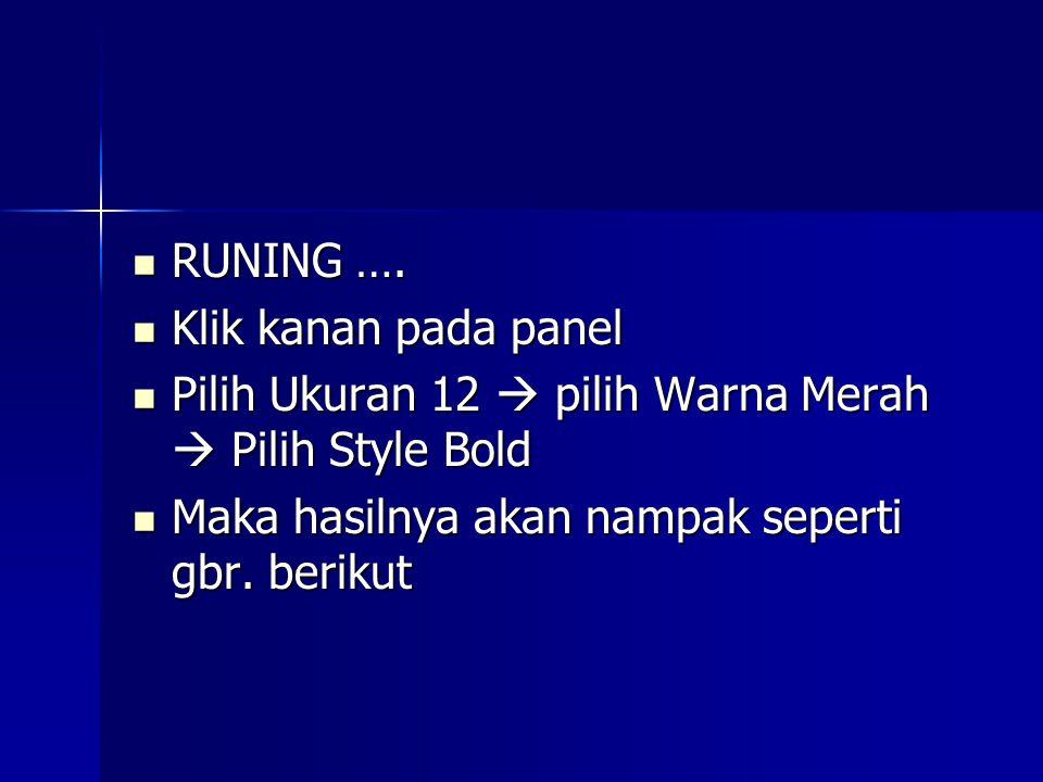 RUNING …. RUNING ….