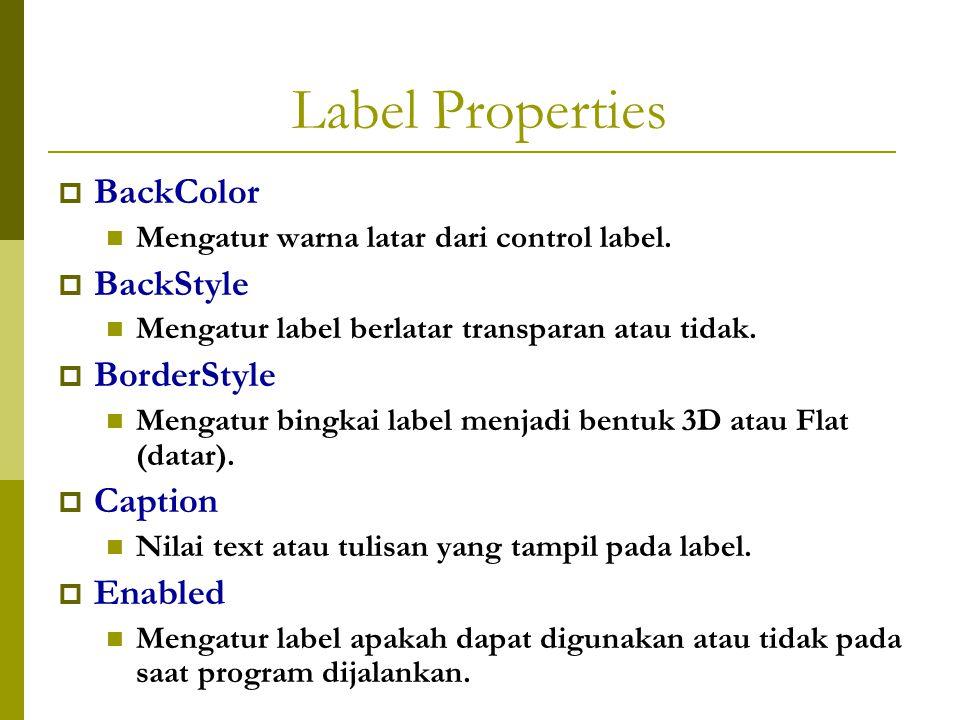 Label Properties  BackColor Mengatur warna latar dari control label.