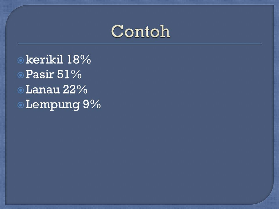  kerikil 18%  Pasir 51%  Lanau 22%  Lempung 9%