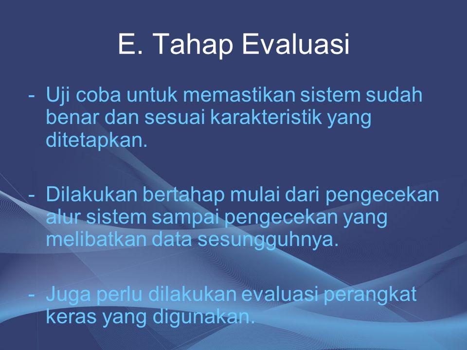 E. Tahap Evaluasi -Uji coba untuk memastikan sistem sudah benar dan sesuai karakteristik yang ditetapkan. -Dilakukan bertahap mulai dari pengecekan al