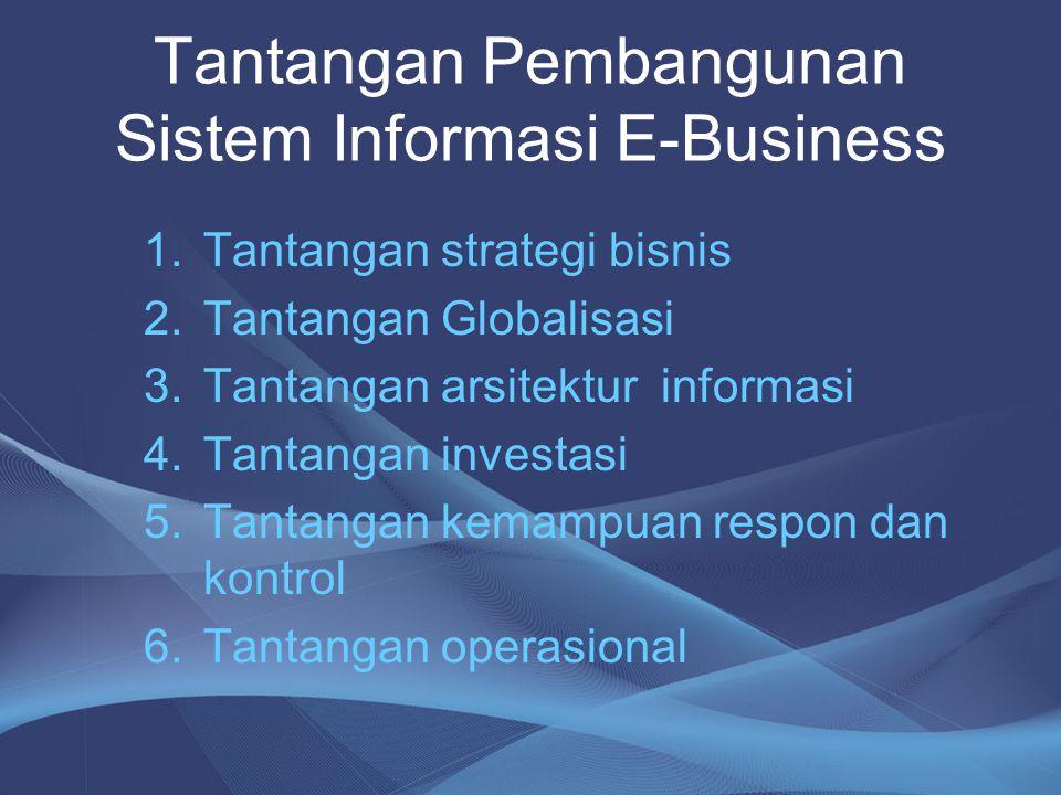 Tantangan Pembangunan Sistem Informasi E-Business 1.Tantangan strategi bisnis 2.Tantangan Globalisasi 3.Tantangan arsitektur informasi 4.Tantangan inv