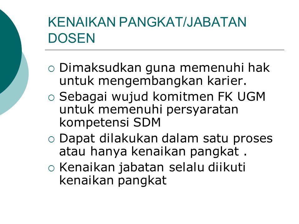 KENAIKAN PANGKAT/JABATAN DOSEN  Dimaksudkan guna memenuhi hak untuk mengembangkan karier.  Sebagai wujud komitmen FK UGM untuk memenuhi persyaratan