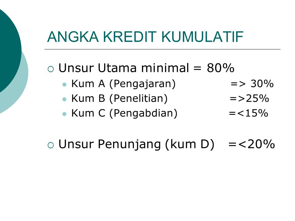 ANGKA KREDIT KUMULATIF  Unsur Utama minimal = 80% Kum A (Pengajaran) => 30% Kum B (Penelitian) =>25% Kum C (Pengabdian) =<15%  Unsur Penunjang (kum D) =<20%