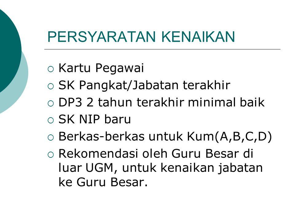 PERSYARATAN KENAIKAN  Kartu Pegawai  SK Pangkat/Jabatan terakhir  DP3 2 tahun terakhir minimal baik  SK NIP baru  Berkas-berkas untuk Kum(A,B,C,D)  Rekomendasi oleh Guru Besar di luar UGM, untuk kenaikan jabatan ke Guru Besar.