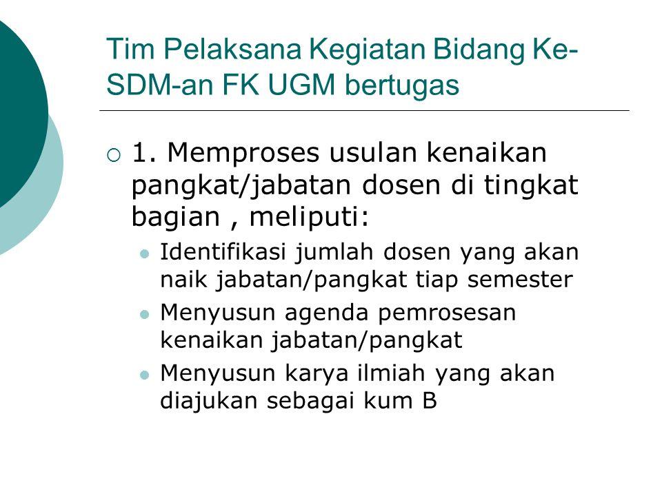 Tim Pelaksana Kegiatan Bidang Ke- SDM-an FK UGM bertugas  1. Memproses usulan kenaikan pangkat/jabatan dosen di tingkat bagian, meliputi: Identifikas