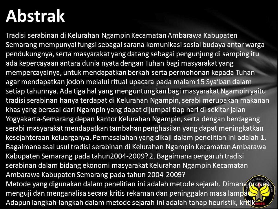 Kata Kunci Tradisi Serabinan, Kelurahan Ngampin.