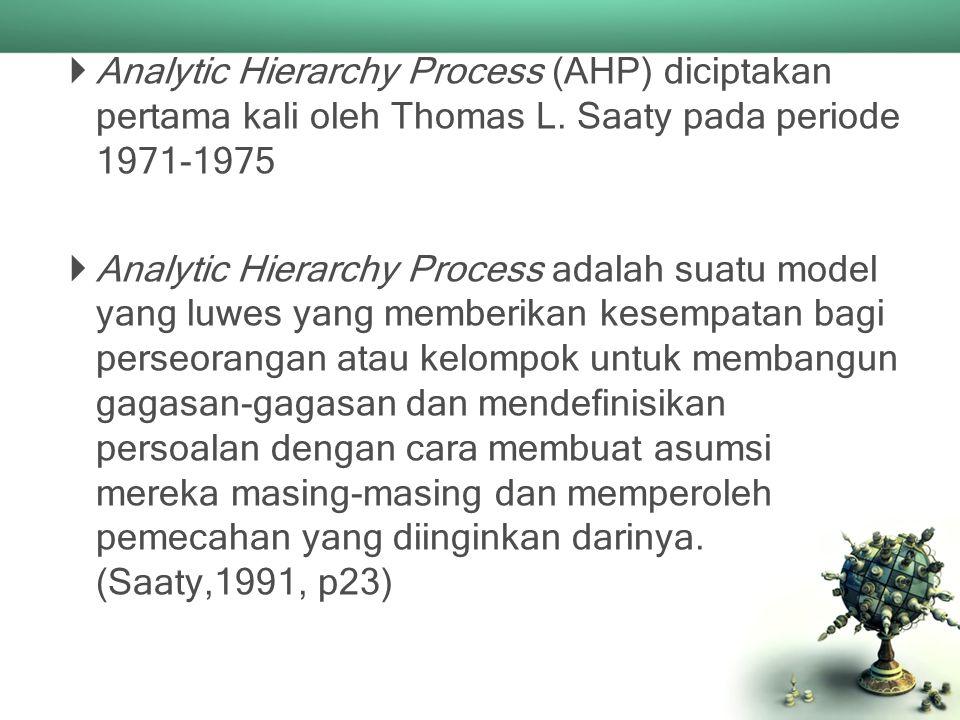  Analytic Hierarchy Process (AHP) diciptakan pertama kali oleh Thomas L. Saaty pada periode 1971-1975  Analytic Hierarchy Process adalah suatu model